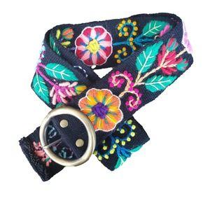 Floral Embroidered Fabric Belt Black Pink Green